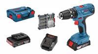 Bosch Professional 06019H1105 Trapano avvitatore con percussione a batteria GSB 18 V-21 (2 batterie da 2,0 Ah, 18 Volt, con set 40 acessori, in L-BOXX)