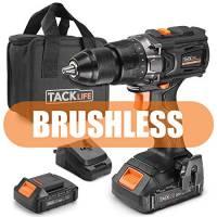 TACKLIFE Brushless Avvitatore Elettrico 18V con 2 batterie al litio (1.5Ah) 2 Velocità con 19+1 Regolazioni Coppia Max 65N.m Mandrino da 13mm BLPCD01B