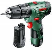 Bosch 060398390E Trapano Battente-Avvitatore EasyImpact 12 con 2 Batterie, 0 W, 12 V, Verde
