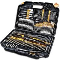 Terratek® - Set di punte per trapano - 246 pezzi - include punte per viti, punte HSS, punte per parete, punte per legno normali e piatte, seghe a campana e altro