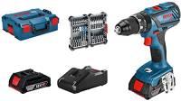 Bosch Professional Sistema 18V Trapano Avvitatore con Percussione Gsb 18V-28(Coppia Max: 63 Nm, Incl. 35 Pezzi Set di Accessori Impact, Batteria 2X2.0Ah e Caricatore, in L-Boxx 136)- Amazon Exclusive