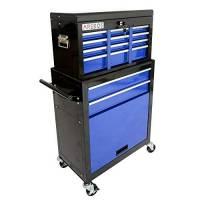 Arebos - Carrello portautensili con 9 scomparti, colore: blu/nero, tappetino antiscivolo, inserto per valigia portatile e rimovibile, meccanismo di chiusura centralizzata, metallo massiccio