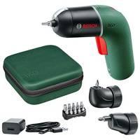 Bosch DIY Tools Avvitatore elettrico IXO Set, 6ª generazione, verde, con attacchi vite angolare IXO e angolo offset IXO, CONTROLLO VELOCITÀ variabile, ricaricabile con cavo micro USB