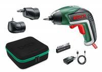 Bosch - Set da cacciavite a Batteria IXO (Testa ad Angolo, Testa Eccentrica, 10 cacciaviti, caricatore USB, scatola schiuma, 3,6 V, 1,5 Ah), Nero/Verde