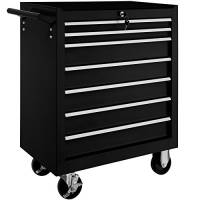 TecTake Carrello portautensili porta attrezzi officina con ruote | 7 cassetti | -modelli differenti- (Nero | No. 402800)