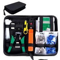 SGILE Strumenti Kit di Rete Professionali, Pinza Crimpatrice rj45, Manutenzione del Computer Kit LAN Tester del Cavo 9 in 2 Strumenti di Riparazione