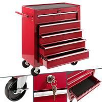 Arebos carrello da officina con 5 scomparti colore rosso | chiusura centrale a chiave | rivestimento antiscivolo | rotelle con fermaruota | metallo robusto