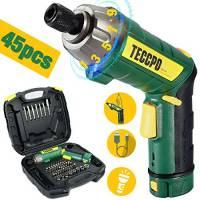 Cacciavite a Batteria, TECCPO 6Nm Avvitatore a Batteria 3.6V, Impugnatura Regolabile a Due Posizioni, 45 Accessori, 9+1 Riduttore di Coppia, Carica Batteria Ricaricabile USB - TDSC01P