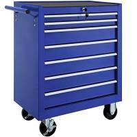 TecTake Carrello portautensili porta attrezzi officina con ruote | 7 cassetti | -modelli differenti- (Blu | No. 402801)