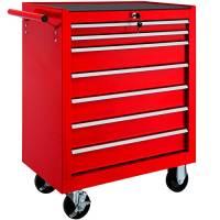 TecTake Carrello portautensili porta attrezzi officina con ruote   7 cassetti   -modelli differenti- (Rosso   No. 402799)
