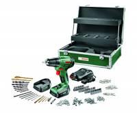 Bosch Universal PSR 14,4 LI - Trapano avvitatore a batteria + set 241 accessori + scatola + 2 batterie e caricatore, 14,4 V, max. 28 Nm