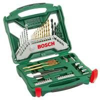 Bosch Set da 50 punte e bit avvitamento in titanio X-Line, legno, pietra e metallo, accessori per trapano