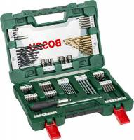 Bosch Set da 91 Pezzi di punte e bit V-Line in titanio, per legno, pietra e metallo, incl. cacciavite a cricchetto e bacchetta magnetica, accessori per utensili di foratura e avvitamento