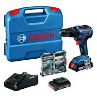 Bosch Professional Sistema 18V Trapano Avvitatore con Percussione Gsb 18V-55, Inclussi Batteria 2X2.0 Ah + Caricabatterie, 35 Pezzi Set di Accessori Impact, in L-Case, Amazon Exclusive