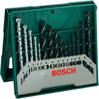 Bosch Home and Garden Bosch 2607019675 X-Line Set Mini, 15 Punte, Metallo Legno Muro, Green, Set di 24 Pezzi